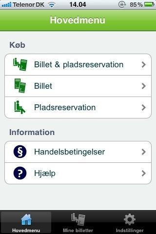 Billede af DSB's app til iPhone